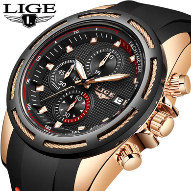 2019 LIGE New Mens Watches Top Brand Luxury Military Sport Watch Men  Waterproof Clock Quartz Wristwatch Relogio Masculino+Box
