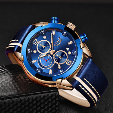 2019 Mens Watches Top Brand Luxury LIGE New Fashion Waterproof Sport Quartz Watch Men Blue Leather Chronograph Relogio Masculino