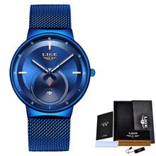 Load image into Gallery viewer, 2019 New Original Design Blue Quartz Clock LIGE Mens Watches Top Brand Luxury Watch Men Simple All Steel Waterproof Wrist Watch
