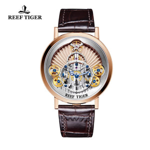 2019 New Reef Tiger/RT Luxury Gear Quartz Watches for Men Genuine Leather Strap Skeleton Watches Relogio Masculino RGA1958
