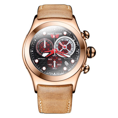 2019 New Reef Tiger/RT Luxury Rose Gold Sport Watches Luminous Skeleton Red Dial Mens Watches RGA782