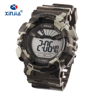 2019 New XINJIA Military Watches Army Camouflage Sports LCD Digital Men's Outdoor Shock Resistant Waterproof 50M Relogio Diver
