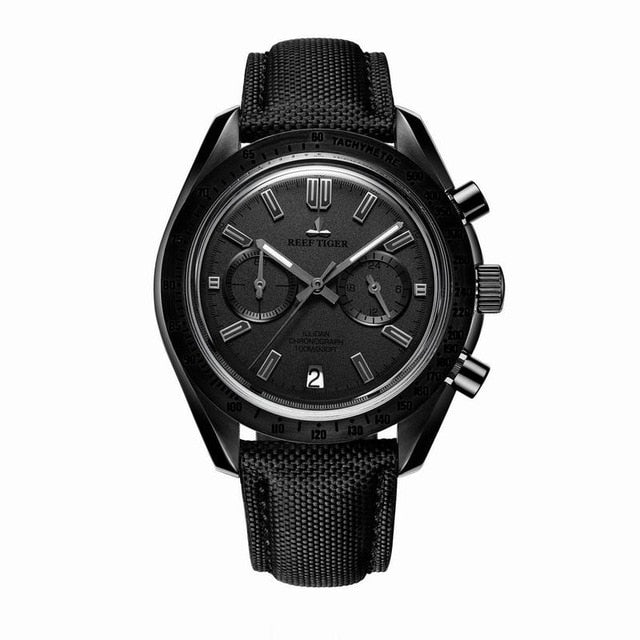 2019 Reef Tiger/RT Mens Designer Chronograph Watch with Date Nylon Strap Luminous Sport Watch Male Black Pilot Watch RGA3033