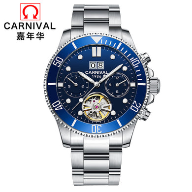 2019 Switzerland Carnival tourbillon men watch luminous luxury brand mechanical watches men full steel clock reloj uhr kol saati