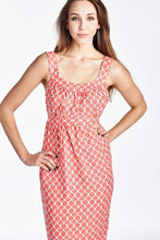 Load image into Gallery viewer, Women's Printed Tie-Back Linen Dress