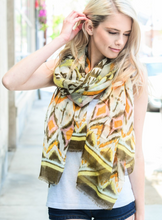 Load image into Gallery viewer, Olive Ikat Lightweight Boho Scarf