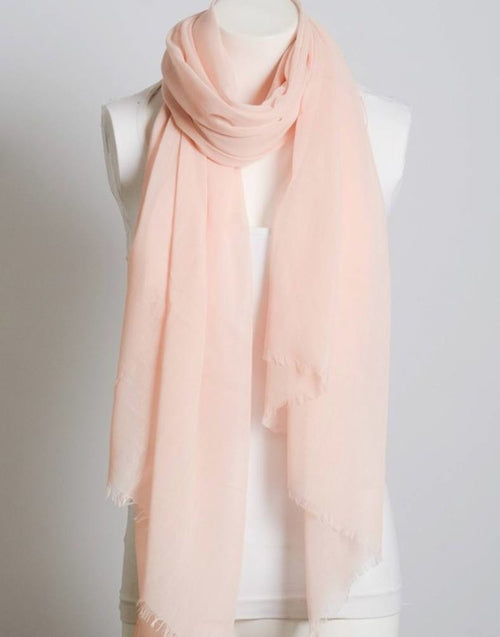 Peachy Pink Lightweight Frayed Scarf