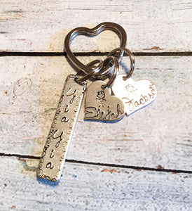 Yia Yia jewelry- Hand stamped key chain -