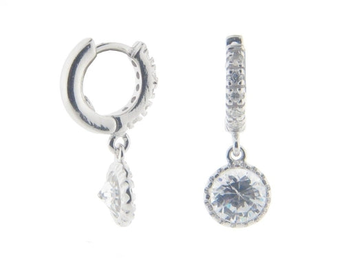 Silver Rhodium Plated Cz Huggies with Cz 6 mm
