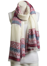 Load image into Gallery viewer, Red Mix Tribal Print Frayed Long Scarf