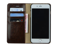 Load image into Gallery viewer, Orange Leather iPhone Wallet Case