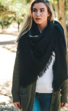 Load image into Gallery viewer, Warm Black Open Weave Square Scarf / Blanket