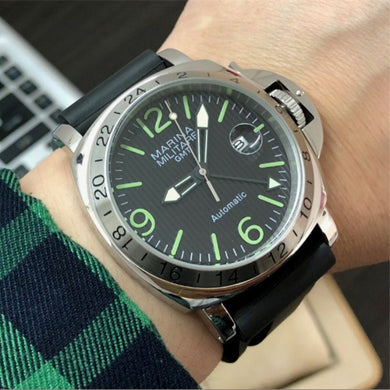 44mm Mens Military Pilot Mechanical Watches Seagull ST25 Automatic Movement Super GMT Luminous Parnis Men Calendar Watch P163-8