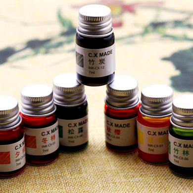 7ml Creative Colored Painting Ink Gold 12 Colorful Ink Signature Pen Non-carbon Ink Fountain Pen Calligraphy Painting Graffiti