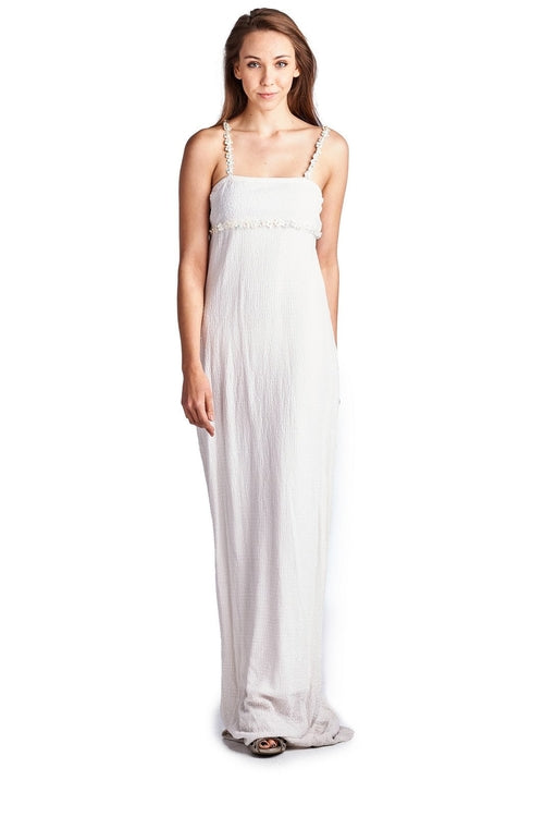 Women's Pearl Detail Spaghetti Evening Gown