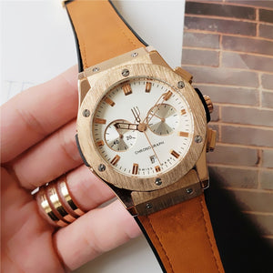 All dials working Stopwatch Men Watch Luxury Watches With Calendar Leather Strap Top Brand Quartz Wrist Watch High Quality