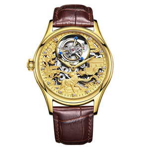 Automatic Golden Mechanics Surface High Archives Man Business Affairs Wrist Watch Waterproof Noctilucent Dragon Table  WT100