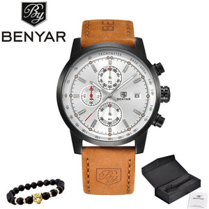 BENYAR New Watch Men Military Luxury Top Brand Quartz Business Men's Watches Fashion Chronograph Leather Clock Relogio Masculino