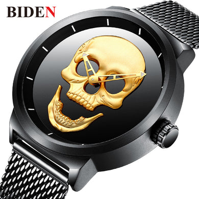 BIDEN Cool Skull Watch Men 2018 Mens Watches