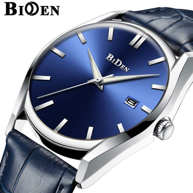 BIDEN Men Watch Waterproof Military Army Sport Man Clock Top Brand Luxury Blue Genuine Leather Quartz Wrist Mens Watches