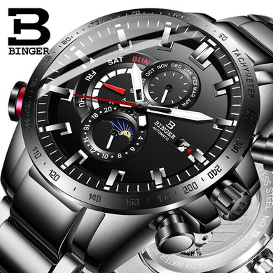 BINGER Mens Watches Top Brand Luxury Business All steel Mechanical Watch Men Automatic Waterproof Fashion Sapphire Sport Watches