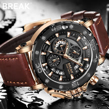 Load image into Gallery viewer, BREAK Men Wrist Watch Quartz Watches Men Luxury Brand Gold