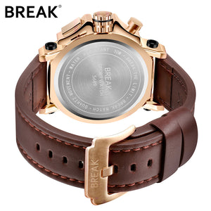 BREAK Men Wrist Watch Quartz Watches Men Luxury Brand Gold