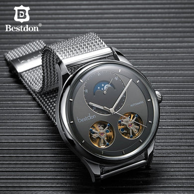 Bestdon Double Tourbillon Men's Watch Fashion Automatic Mechanical Watches Moon Phase Stainless Steel Switzerland Luxury Brand
