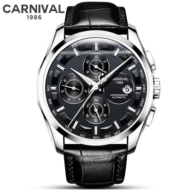Black Leather Men Fashion Automatic Mechanical Watch CARNIVAL Waterproof Luminous Auto Date Watches Men Sport Sapphire Clock