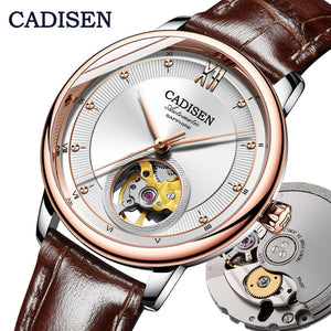 CADISEN Mens Watches Top Brand Luxury Watch Mechanical Automatic Watch Men Tourbillon skeleton watch Relogio Masculino 2019