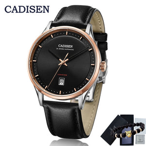 CADISEN Mens watches top brand luxury wristwatch mens automatic mechanical watch men leather watch men NH35A relojes hombre 2019