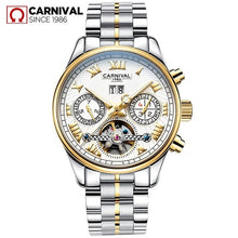 Load image into Gallery viewer, CARNIVAL Men Fashion Automatic Mechanical Watch Waterproof Luminous Auto Date Week Moon Phase Watches Men Sport Tourbillon Clock