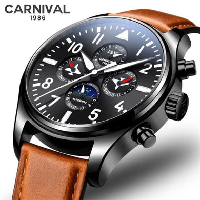 CARNIVAL Moon Phase Mens Watches Top Brand Luxury Luminous Automatic Mechanical Watch Men Sports Leather Waterproof Sport Watch
