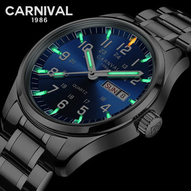 CARNIVAL New Fashion Tritium gas Self Luminous watch men Watches