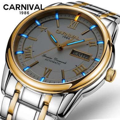 CARNIVAL Tritium Luminous Mechanical Watch Men Wrist Automatic Watches Men Waterproof Calendar Full Steel Watch Montre Homme