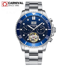 Load image into Gallery viewer, CARRIVAL Mechanical Watch Stainless Steel Tourbillon Automatic Watches Waterproof Men Watch Relogio Masculino Luminous Watch Men