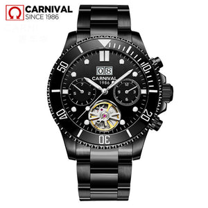 CARRIVAL Mechanical Watch Stainless Steel Tourbillon Automatic Watches Waterproof Men Watch Relogio Masculino Luminous Watch Men
