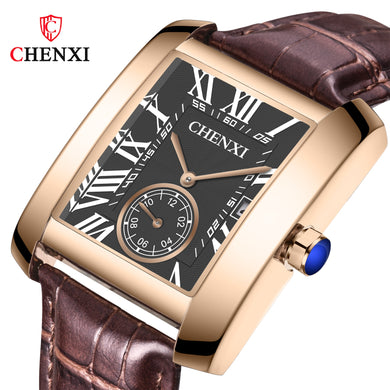 CHENXI Square Watch Men Top Brand Luxury Quartz Waterproof Business Leather Wrist Watch for Men Clock Male Relogio Masculino