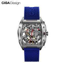 Load image into Gallery viewer, CIGA Design CIGA Watch Z Series Watch Barrel Type Double-Sided Hollow Automatic Skeleton Mechanical Men's Waterproof Watch