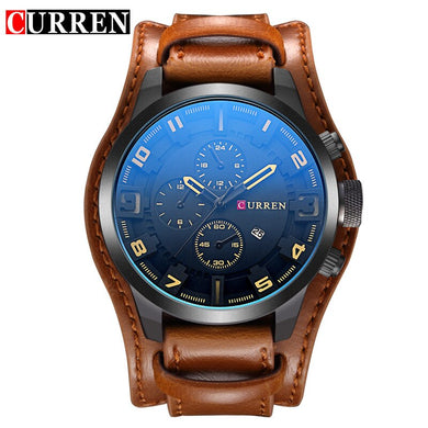 CUREEN Army Military Quartz Mens Watches Top Brand Luxury Leather Men Watch Casual Sport Male Clock Watch Relogio Masculino Xfcs