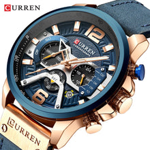 Load image into Gallery viewer, CURREN Casual Sport Watches for Men Blue Top Brand Luxury Military Leather Wrist Watch Man Clock Fashion Chronograph Wristwatch