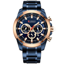 Load image into Gallery viewer, CURREN Men Watch Big Dial Sport Mens Watches Top Luxury Brand Blue Full Steel Quartz Wristwatch Chronograph Military Male Clock