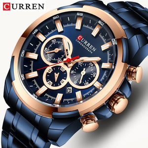 CURREN Men Watch Big Dial Sport Mens Watches Top Luxury Brand Blue Full Steel Quartz Wristwatch Chronograph Military Male Clock