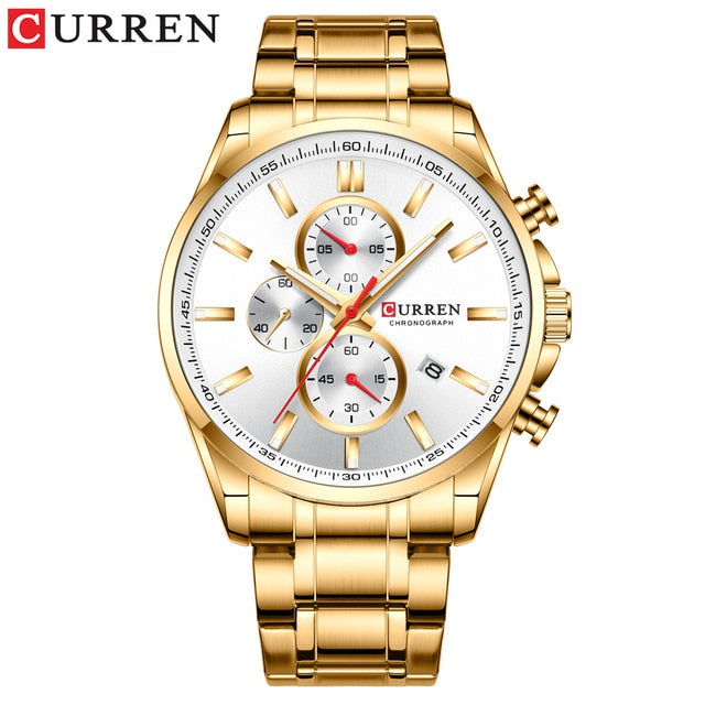 CURREN Men's Watch Causal Sport Watches Top Luxury Brand Blue Full Steel Quartz Wristwatch Chronograph Military Male Clock