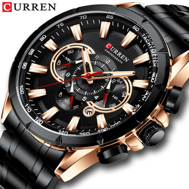 CURREN Men's Watch Fashion Sport Chronograph Wristwatch Mens Watches Top Brand Luxury Quartz Watch Stainless Steel Band