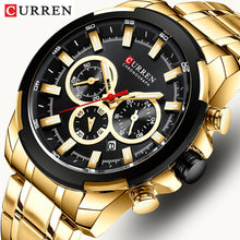 Load image into Gallery viewer, CURREN Men's Watches Top Brand Big Sport Watch Luxury Men Military Steel Quartz Wrist Watches Chronograph Gold Design Male Clock