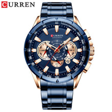 Load image into Gallery viewer, CURREN New Men's Watch Fashion Sport Chronograph Wristwatch Mens Watches Top Brand Luxury Quartz Watch Stainless Steel Band 2019