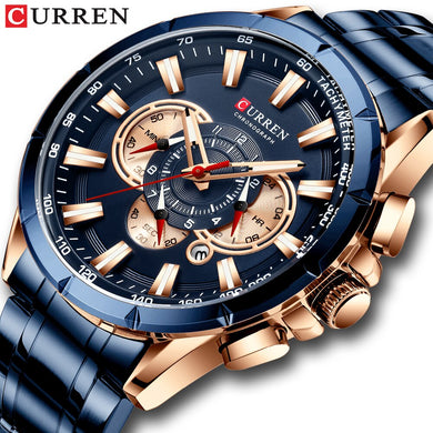 CURREN New Men's Watch Fashion Sport Chronograph Wristwatch Mens Watches Top Brand Luxury Quartz Watch Stainless Steel Band Time