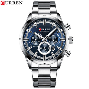 CURREN Top Brand Luxury Quartz Watches Clock Mens Stainless Steel Date Chronograph Watch for Men Fashion Casual Sporty Watch