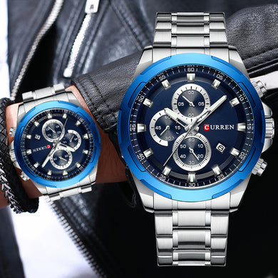 CURREN Watches Men Top Brand Luxury Sport Wristwatch Chronograph Quartz Male Clock Stainless Steel Watch Waterproof Reloj Hombre
